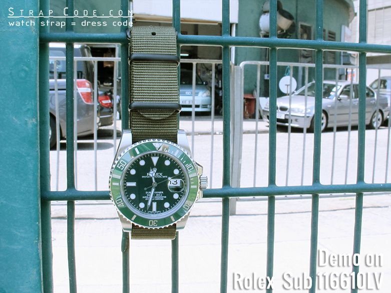 Watch Of The Week | STRAPCODE Picks for Rolex Submariner 116610LV with MiLTAT G10 military green watch straps Check out our blog https://strapcode.wordpress.com