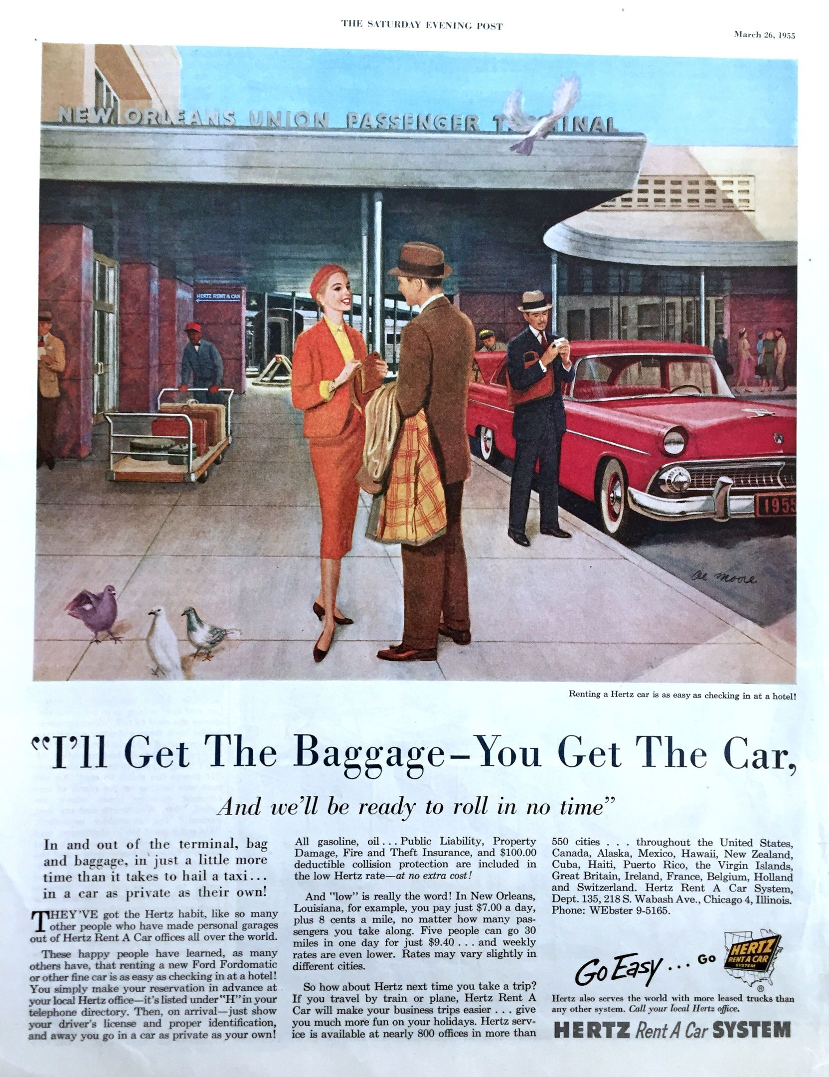 Реклама Hertz, 1950е Vintage advertisements, Print ads
