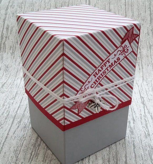 Christmas Gift Box using Smoky Slate, Seasonal Bells, Christmas Box, Real red, Christmas Trinkets Embellishments, Stampin' Up!