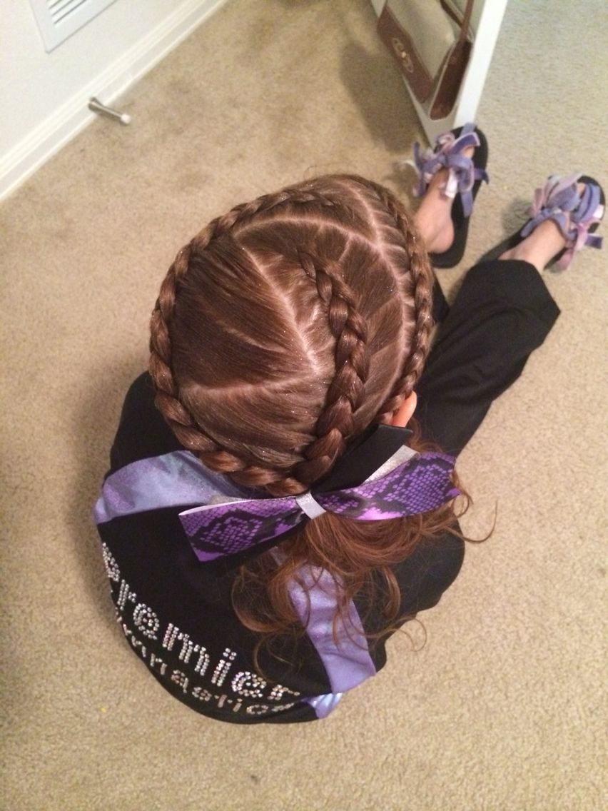 Triple Dutch Braids With A Zig Zag Part