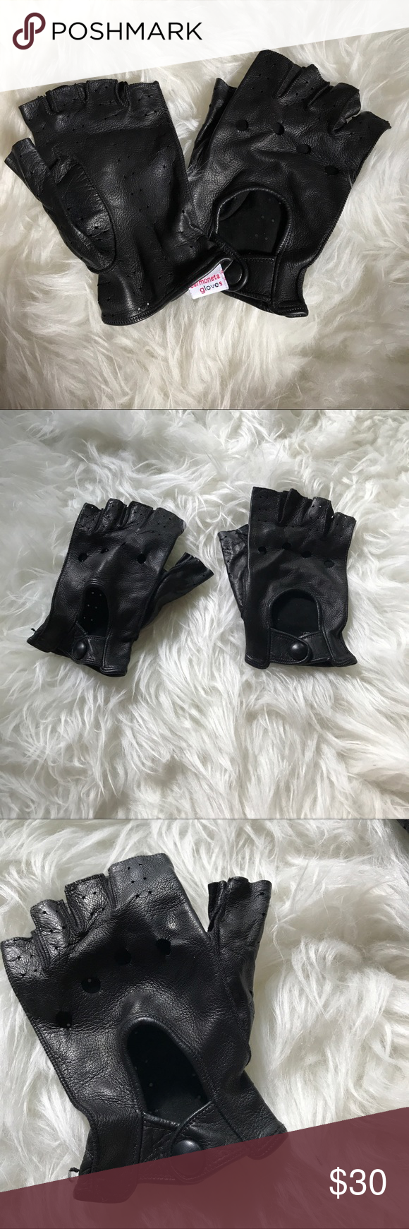 Sermonata Black Leather Fingerless Gloves Channel Karl Lagerfeld from Chanel with these fabulous fingerless leather gloves! Purchased at the Sermonata Glove Store in Rome, Italy. These are the softest leather gloves EVER. Size 7. Worn once. sermonata Accessories Gloves & Mittens