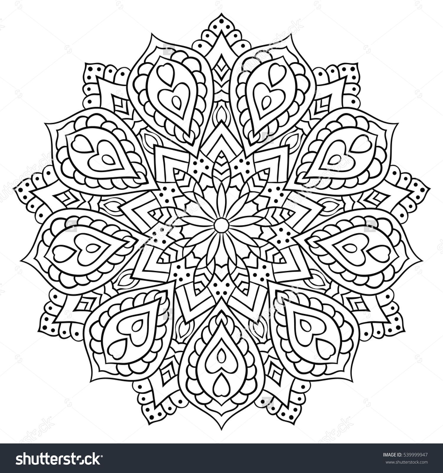 Circular Geometric Ornament Round Outline Mandala For Coloring Page Vintage Decorative Elements Abstract Coloring Pages Mandala Drawing Mandala Coloring