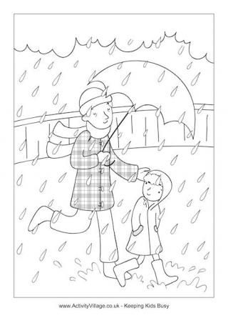 Walking In The Rain With Dad Colouring Page