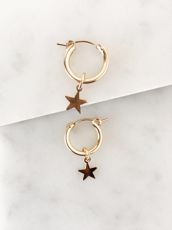 f6f1de293 Hoop Earrings, Small Gold Hoops, Celestial Jewelry, Dainty Earrings,  Minimalist Earrings, Gold Earrings, Dangle Earrings, Minimalist Jewelry