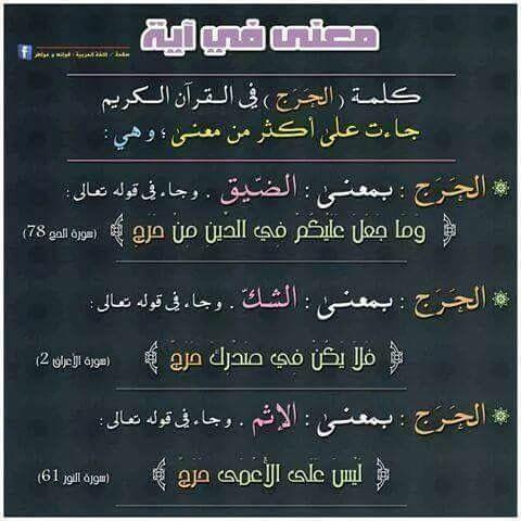 حرج معنى حرج في القرآن Bahasa Bahasa Arab