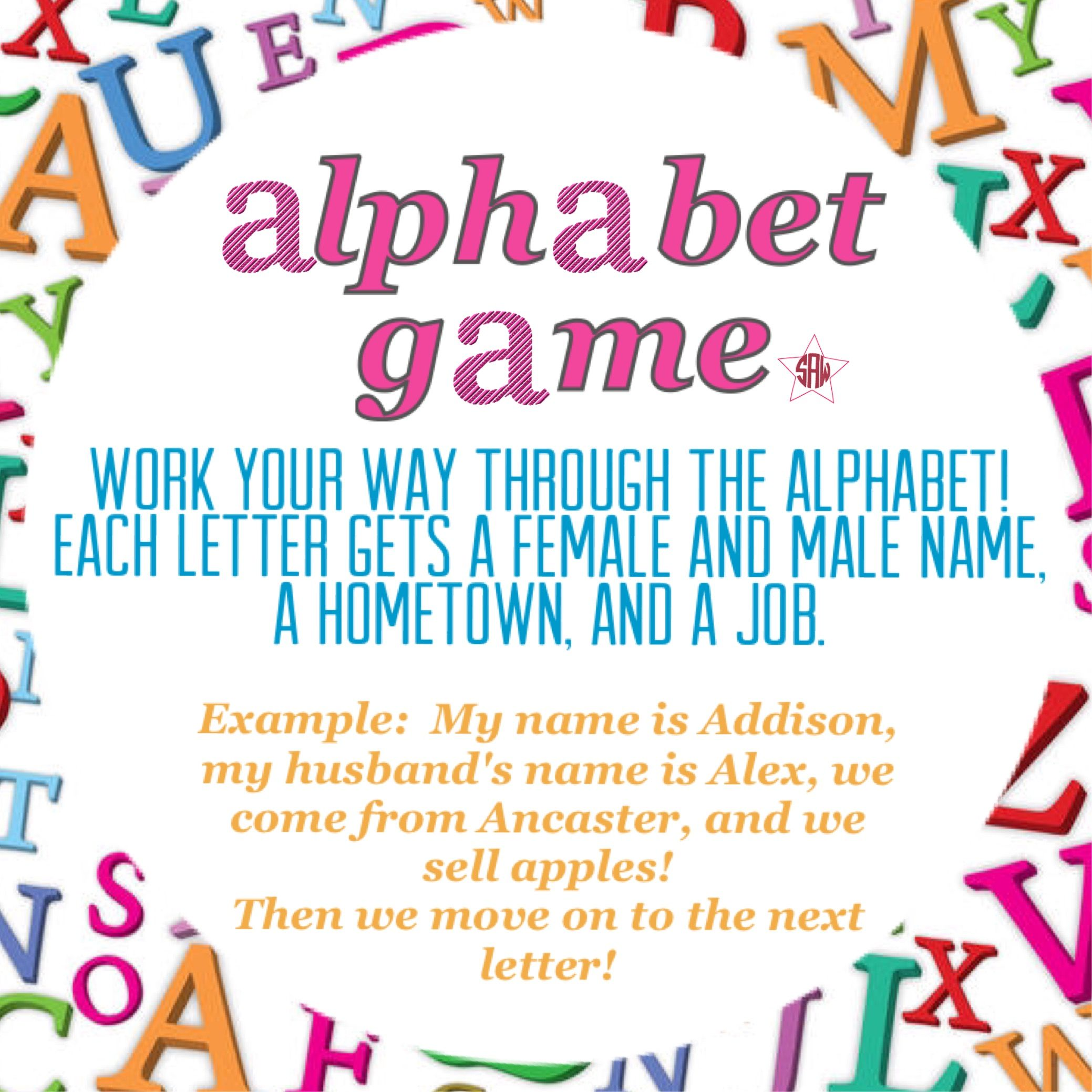 Alphabet game for direct sales. Graphic for VIP Facebook