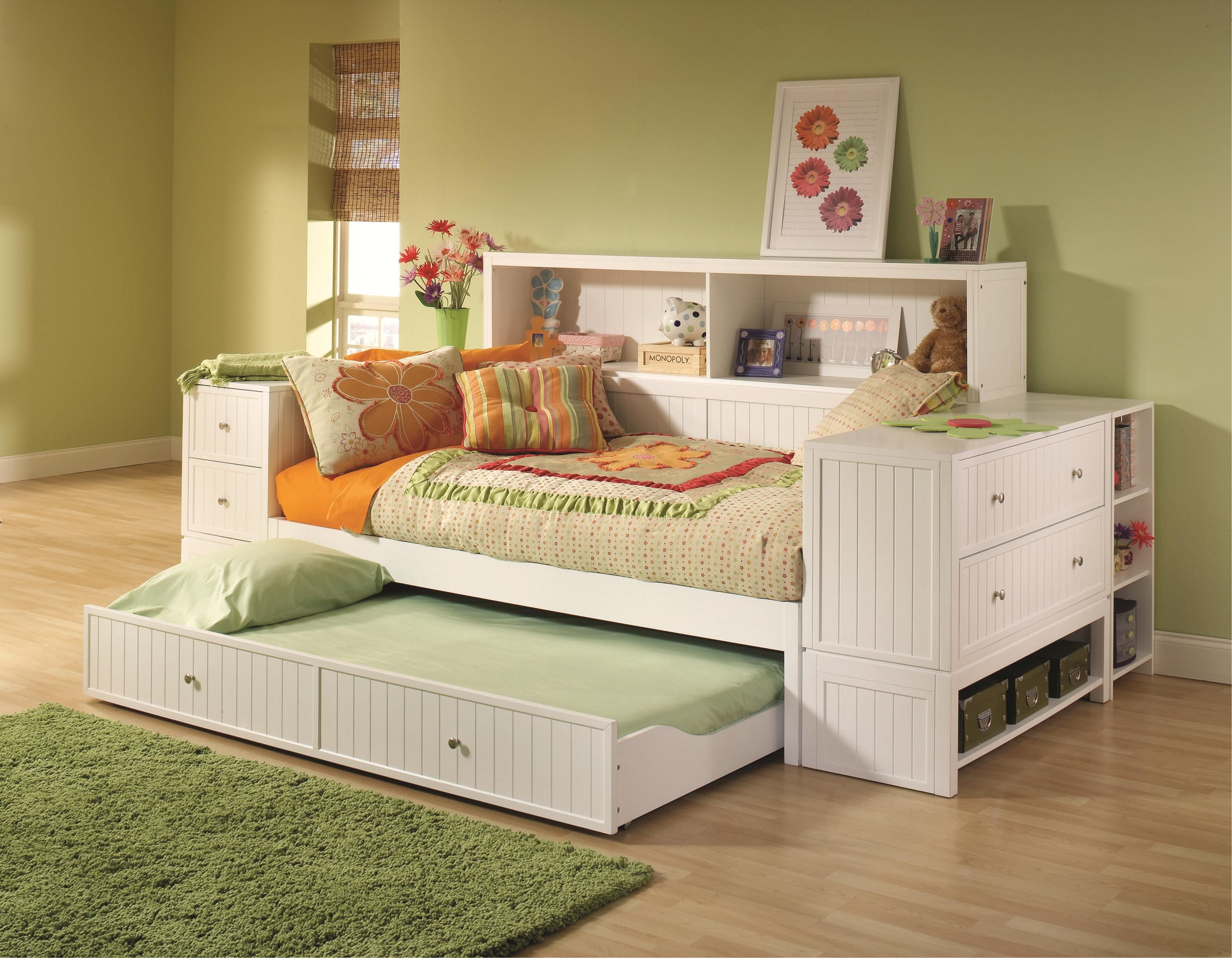 Hilale Furniture Cody Bookcase Daybed With Trundle Storage Drawer Daybeds