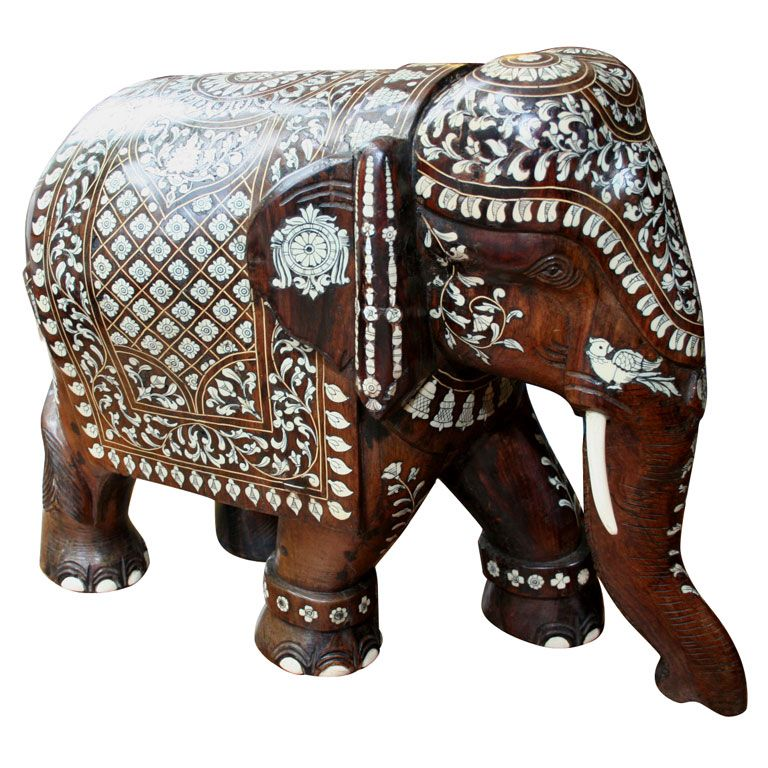 Indian Elephant Elephant Carving Antique Sculpture