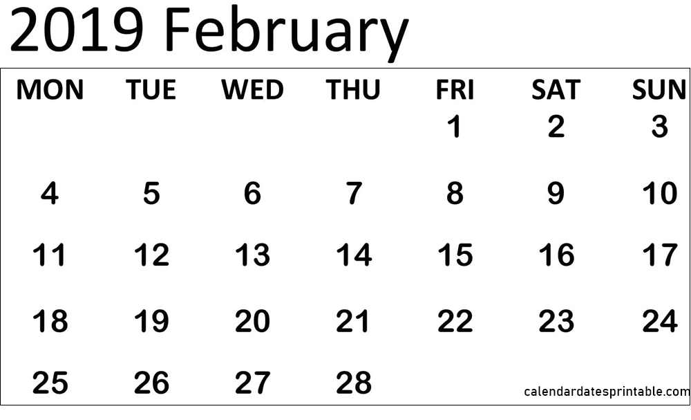 February 2019 calendar with holidays Template Printable