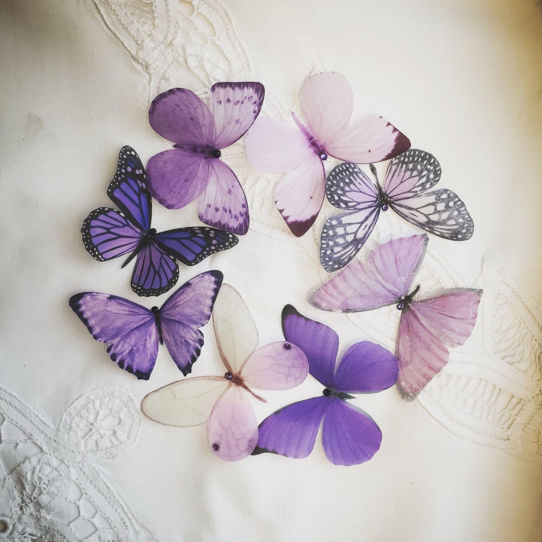 Purple Silk Butterfly Embellishments With Swarovski Crystals