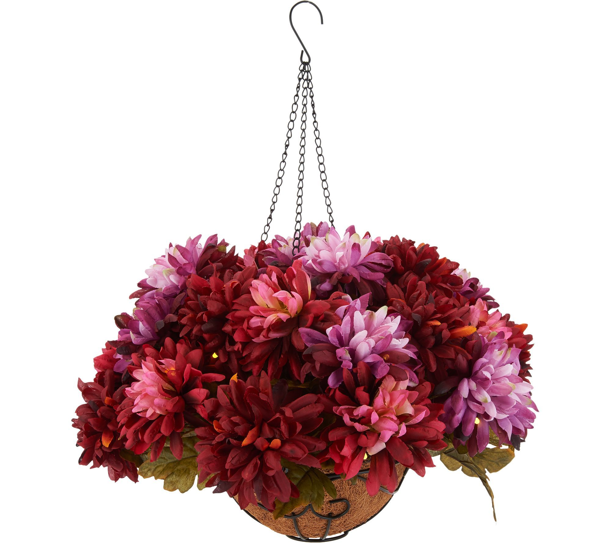 bethlehem lighting. H212703 Bethlehem Lights Prelit Harvest Mum Hanging Basket With Timer Lighting 6