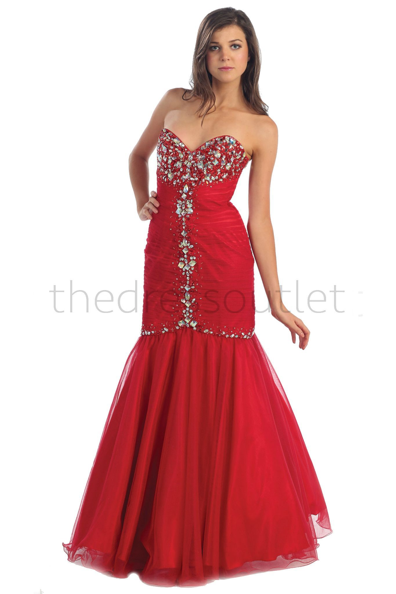 An amazing dress has a sweetheart neckline with a rhinestone bust
