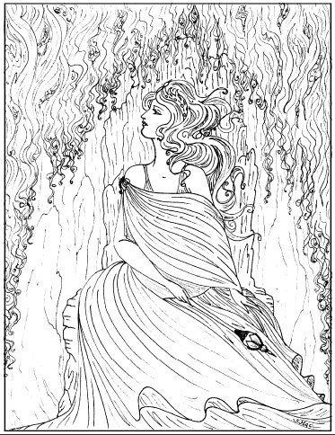 Art Nouveau Coloring Pages - Beautiful Girl   Clip Art   Pinterest ...