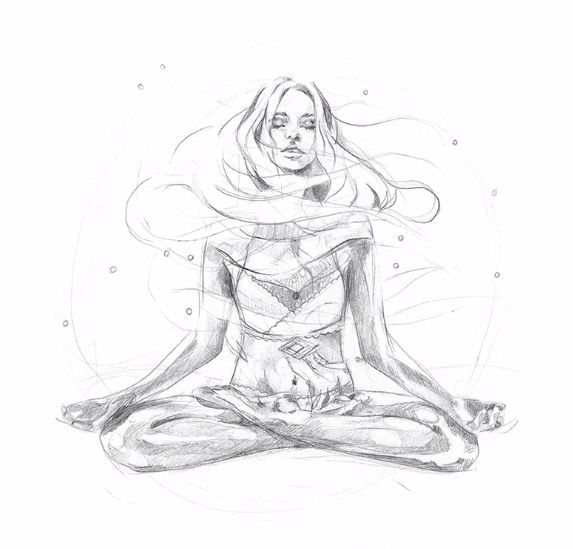 Floating yoga girl | QUOTES | Yoga art, Yoga illustration