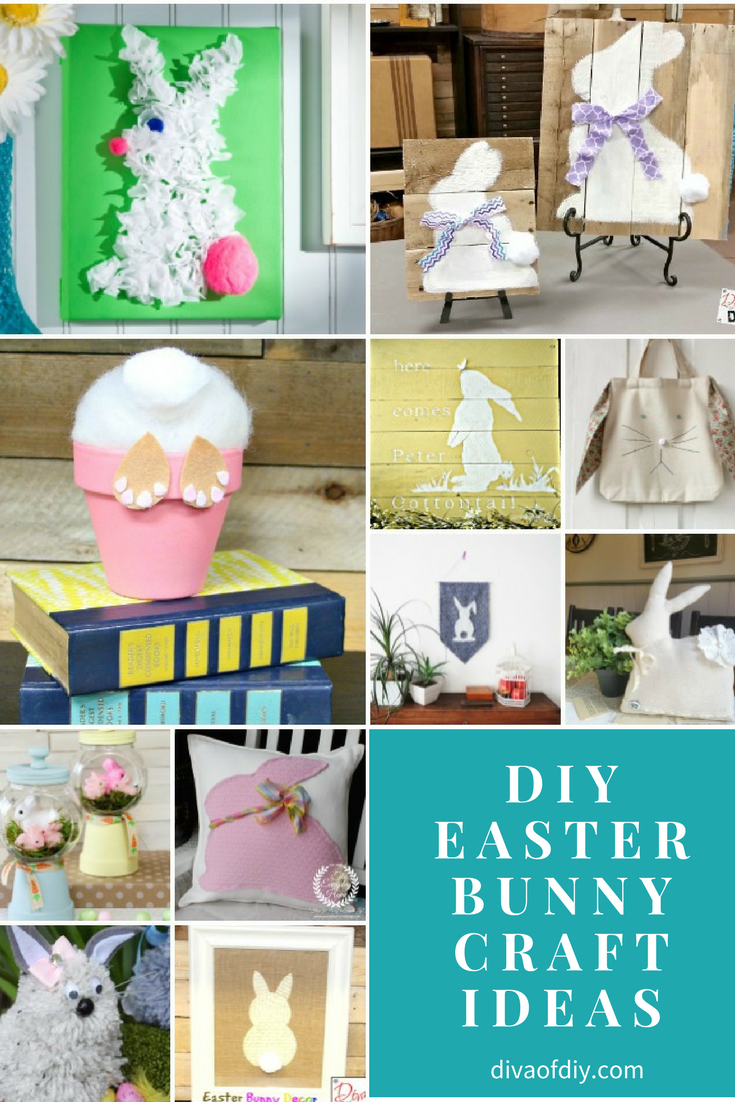 There's just something so magical about a fluffy little bunny that fills kids' baskets with candy - until those kids are still running around all full of sugar 12 hours later. That bunny is lucky he's cute! Speaking of cute, Bunny crafts make fun additions to Spring decor, whether you celebrate Easter or not. Here are some of my favorite Easter Bunny craft Ideas. How to Make an Easter Bunny Craft in a Flower Pot by Diva of DIY Rustic Easter Bunny Sign by Diva of DIY Super Simple and Inexpensive