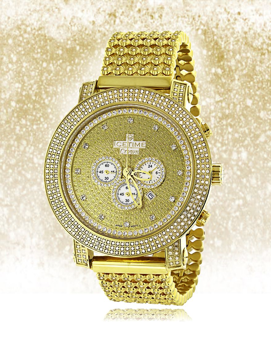 Iced Out Hip Hop Watches! This Mens Diamond Ice Time Crown Watch features 8  carats of dazzling diamonds on the bezel cc5f200f8