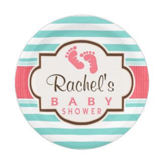 Coral Aqua u0026 White Stripes Baby Shower 7 Inch Paper Plate  sc 1 st  Pinterest & Coral Aqua u0026 White Stripes Baby Shower 7 Inch Paper Plate | Baby ...