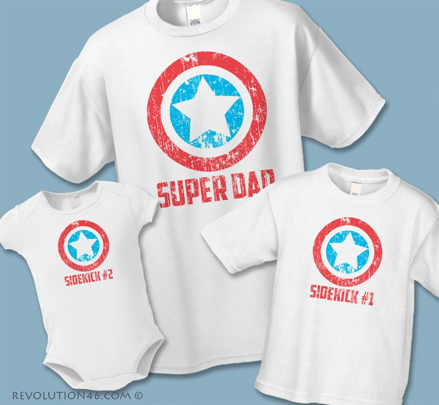 b7297eb7 Super Dad and Sidekick Matching Shirts - Father Son Matching Shirts - Sets  of 3, 4 or 5 - Father Daughter Shirts - Superhero Birthday Shirts by ...