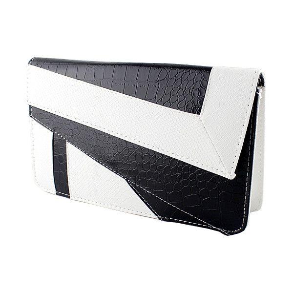 SheIn(sheinside) White Black Crocodile Leather Clutch Bag (€13) ❤ liked on Polyvore