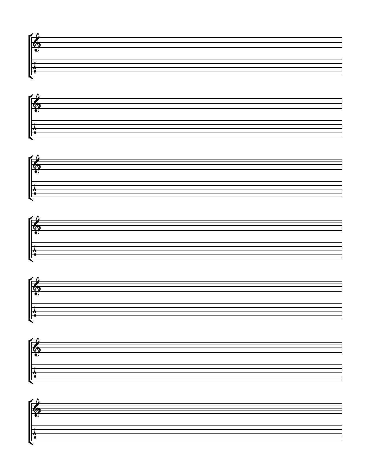 print out for blank banjo tab and notation