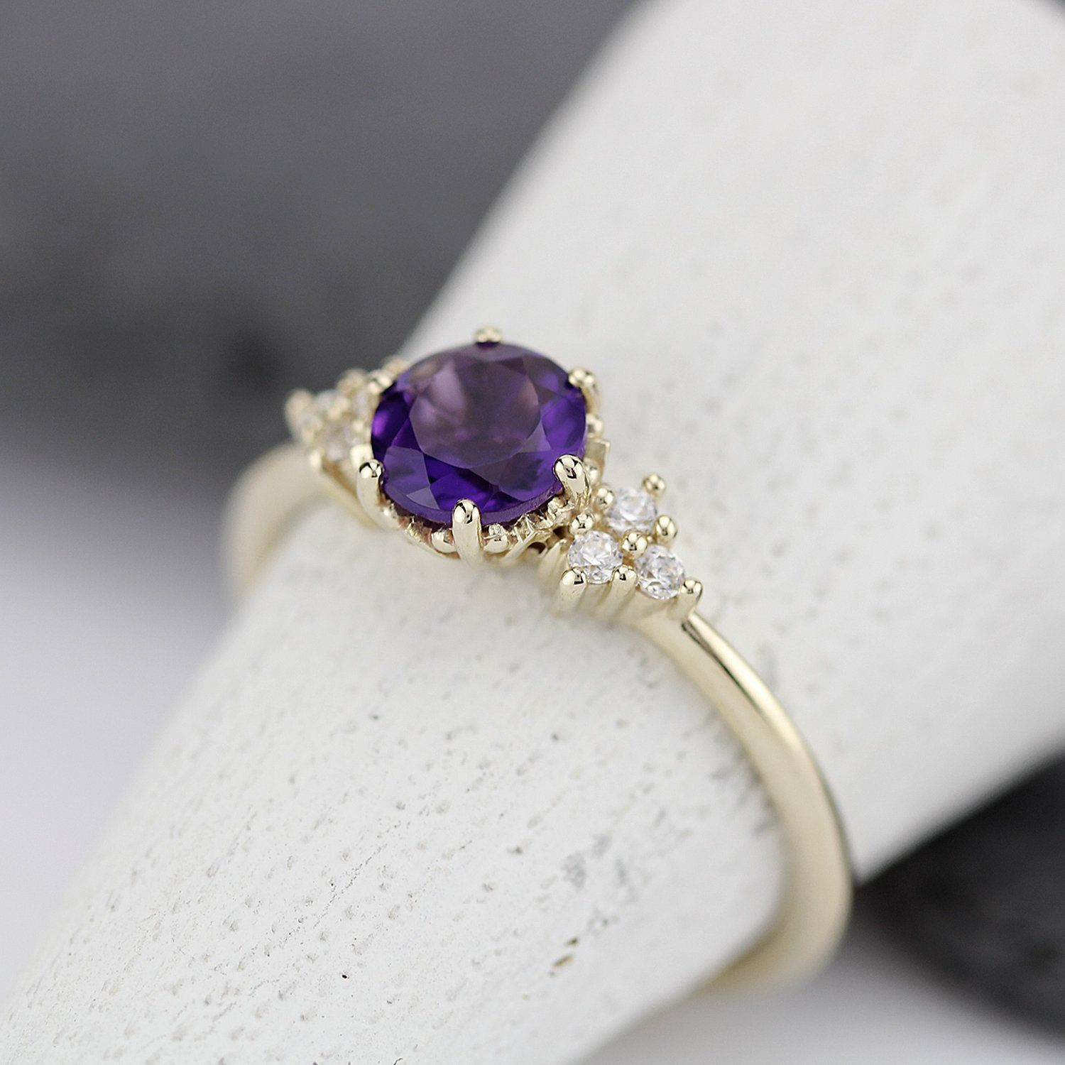 Amethyst Engagement Ring Delicate Diamond Ring Delicate Ring Minimalist Engagement Ring Engagement Ring Diamonds Diamond Ring Amethyst Ring Engagement Purple Engagement Rings Minimalist Engagement Ring