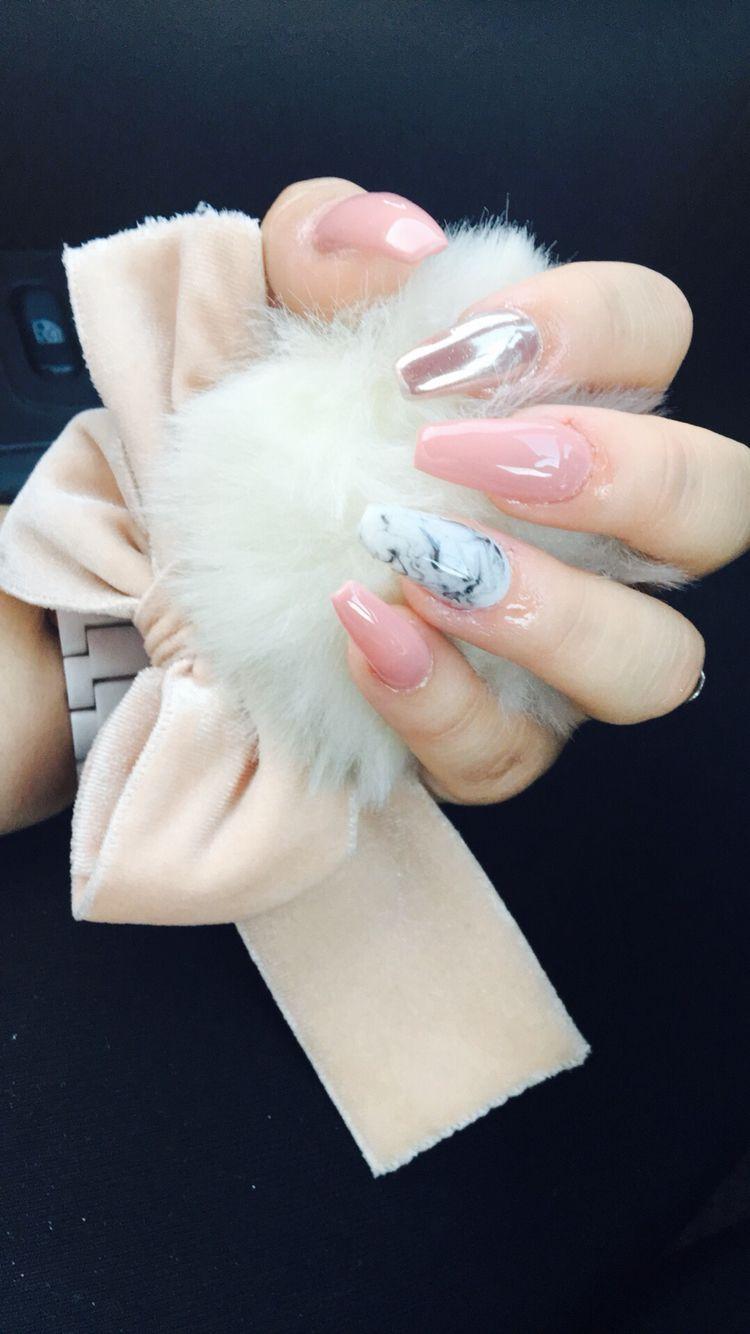 Pink Marble Rose Gold Nails Pretty Nails Cute Nails Chrome Nails