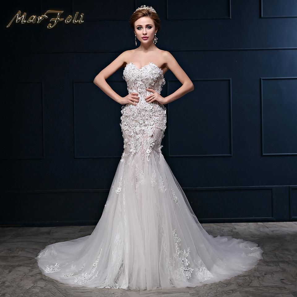Real photos elegant crystal beaded wedding dresses with lace flower