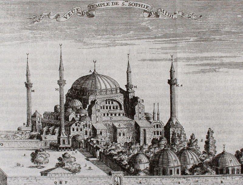 Oguz Topoglu Guillaume Joseph Grelot Ayasofya Gravuru Hagia Sophia Istanbul Katedral