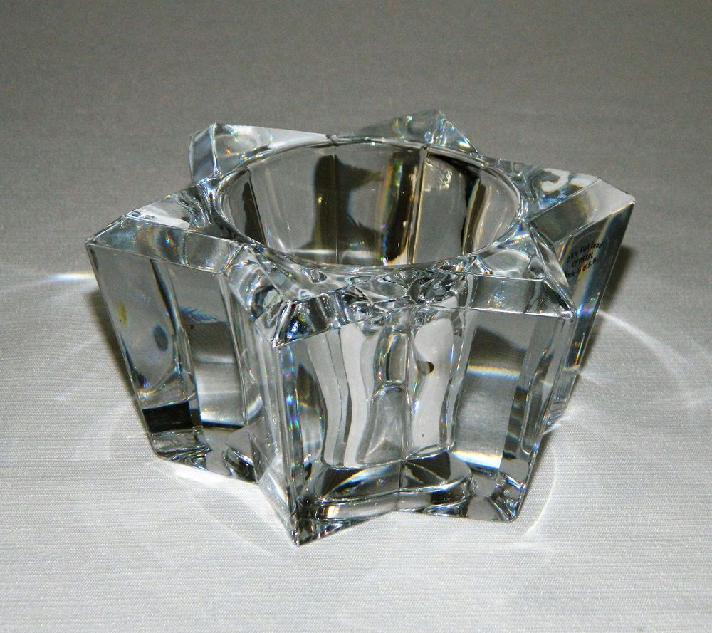 PartyLite 24% Lead Crystal Six Point Star Shape Tealight ...