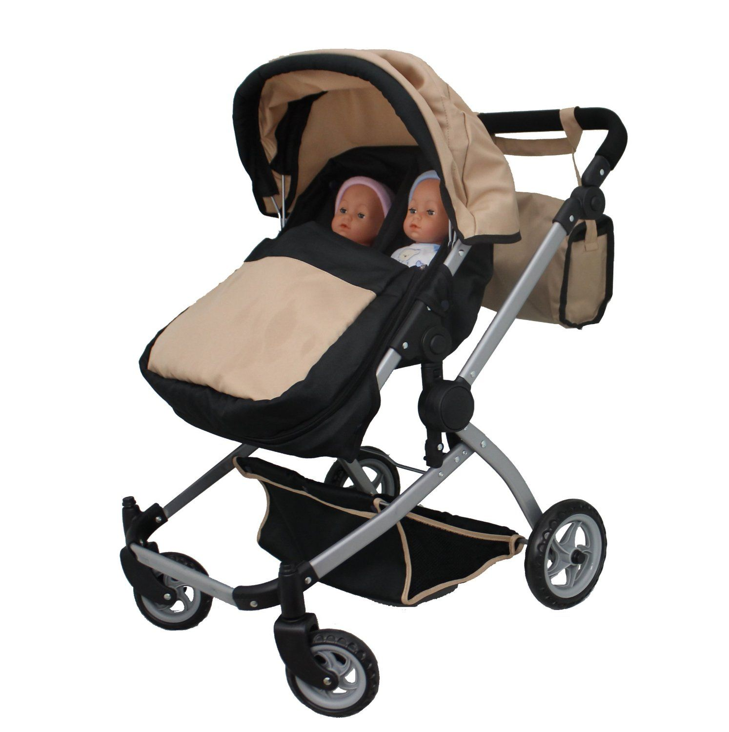 Double Dolls Pram Amazon Amazon Babyboo Sand Deluxe Twin Doll Pram Stroller With