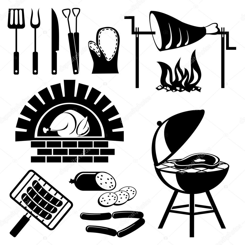 Download Royalty Free Set Of Vector Silhouette Icons Of Barbecue And Cooking Meat Stock Vector 2840777 From Depositphot Burger Drawing Barbecue Silhouette Free