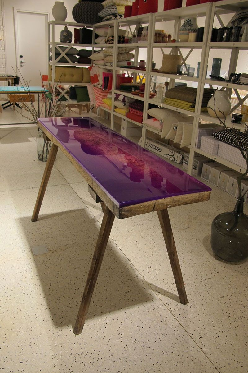 Vintage Coffee Table Or Bench Covered In Purple Epoxy Resin By Jo Nagasaka  Of Schemata Architects