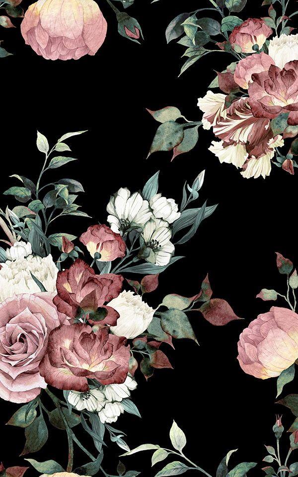 Vintage Pink & Black Floral Wallpaper Mural ...