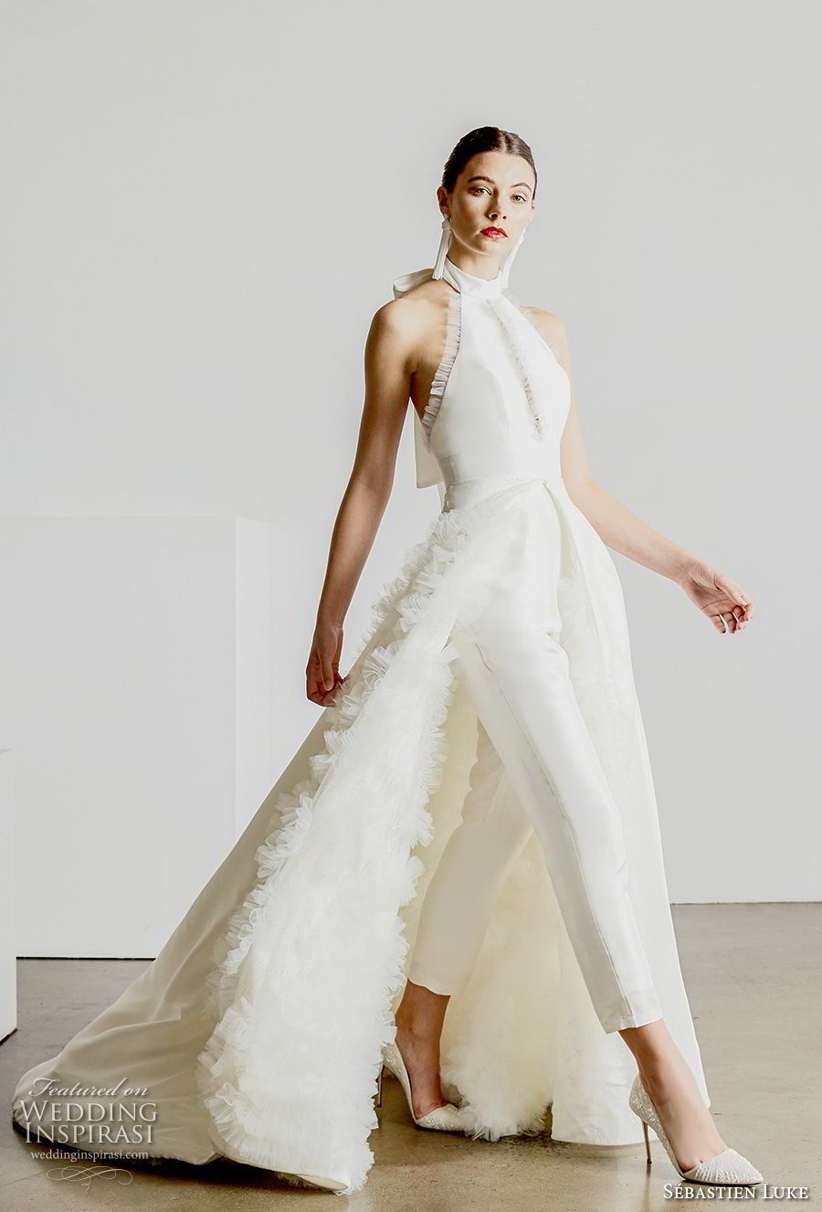 33b5bfdc017 sebastien luke spring 2019 bridal halter high neck simple minimalist modern  ankle jumpsuit wedding dress a
