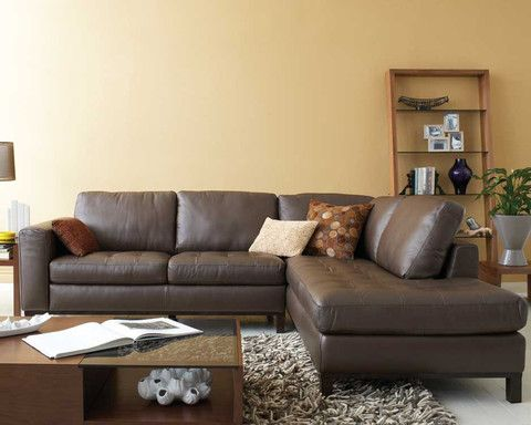 kasala - modern styled leather sectional, sofa, and ottoman