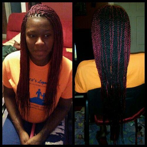 Burgundy And Black Senegalese Senegalese Twist Hair