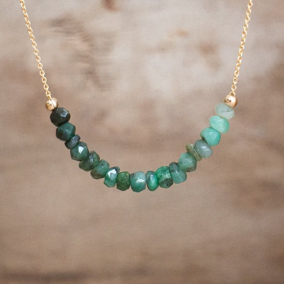 Photo of Raw Emerald Necklace, Emerald Birthstone Necklaces for Women, Layering Necklace, Rough Emerald Jewelry, Crystal Necklace, Gifts for Her