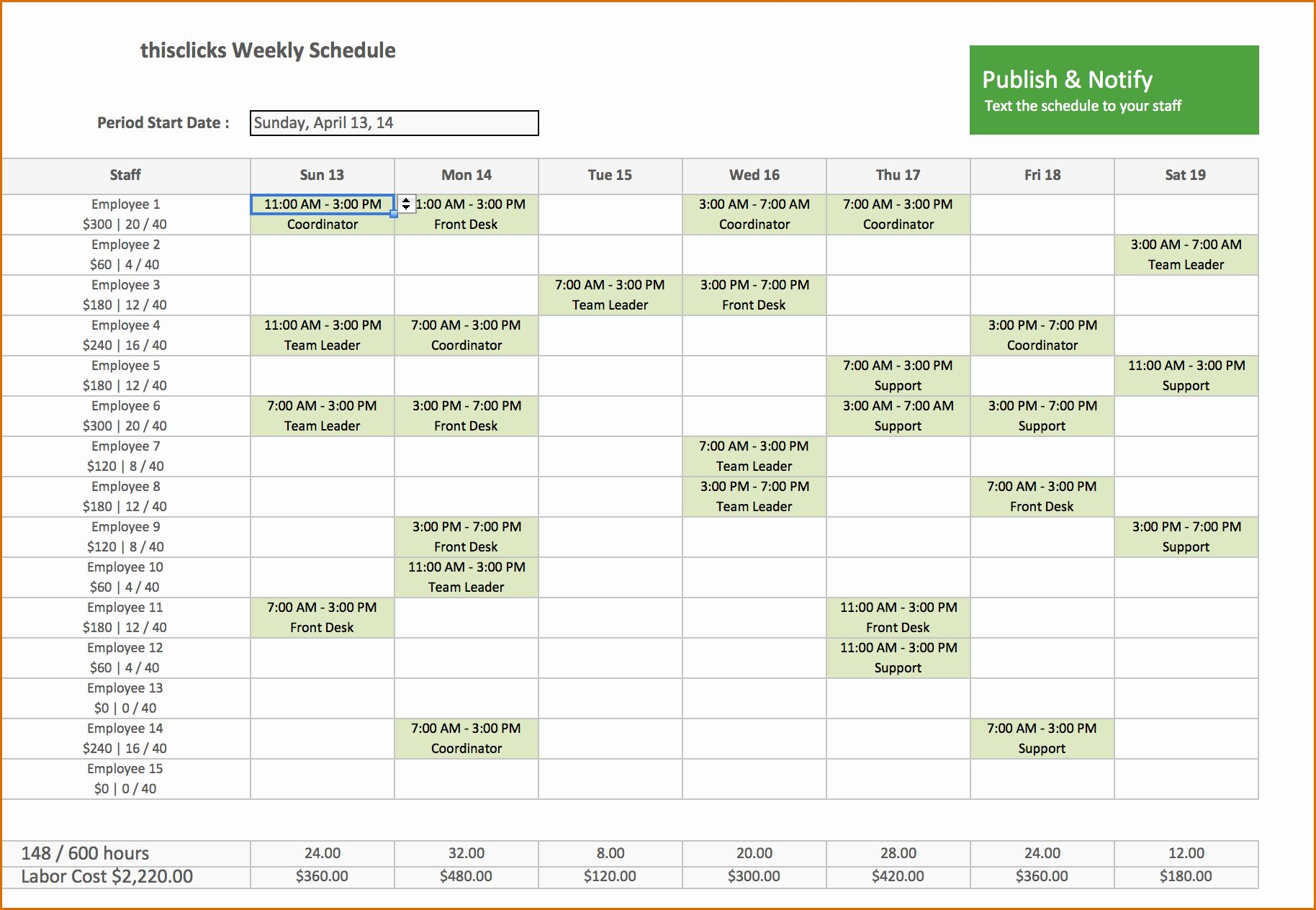 30 Work Schedule Template Excel In