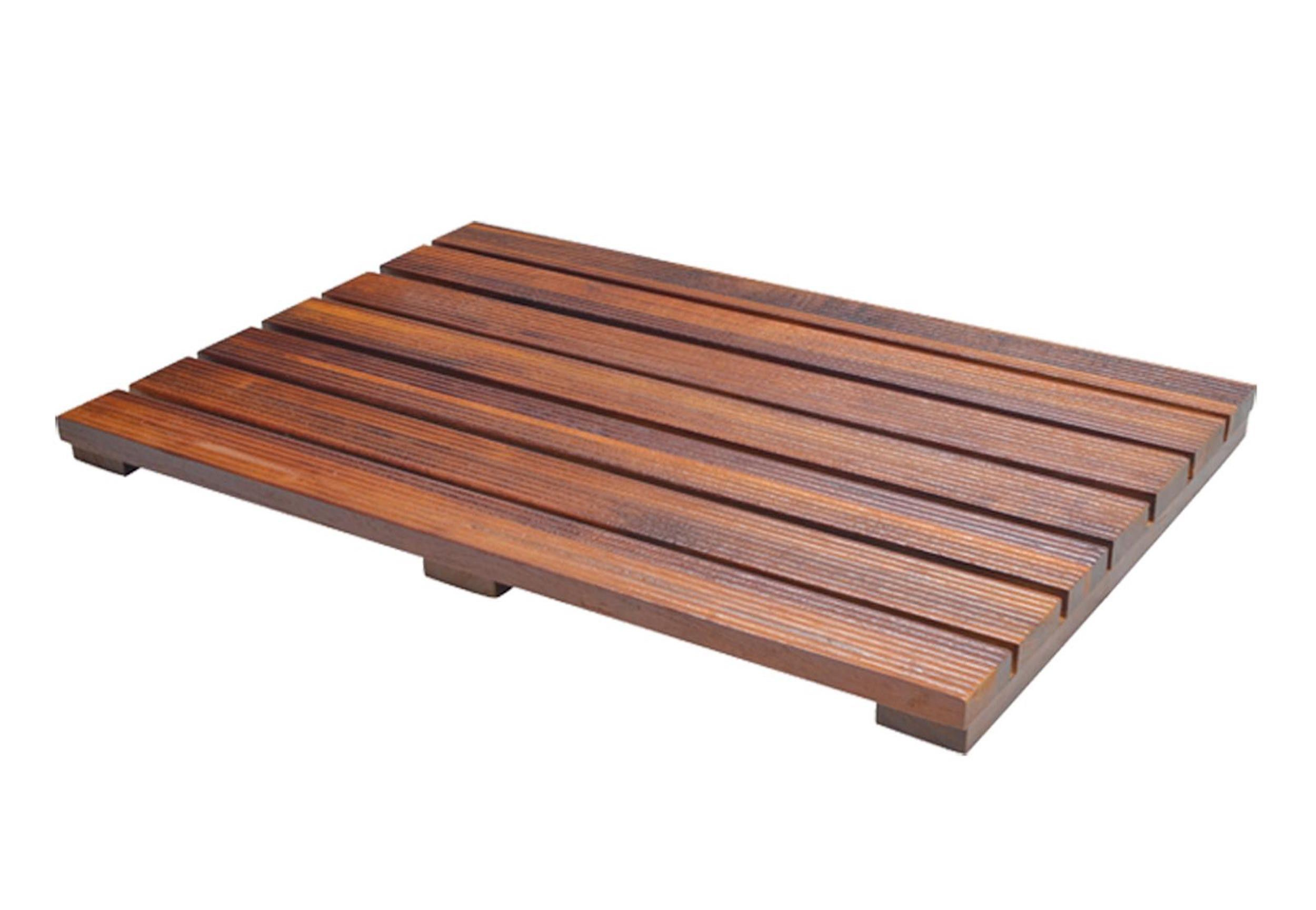 Teak Wood Bath Mat With Non Slip Feet For Use In Or Out Of ...