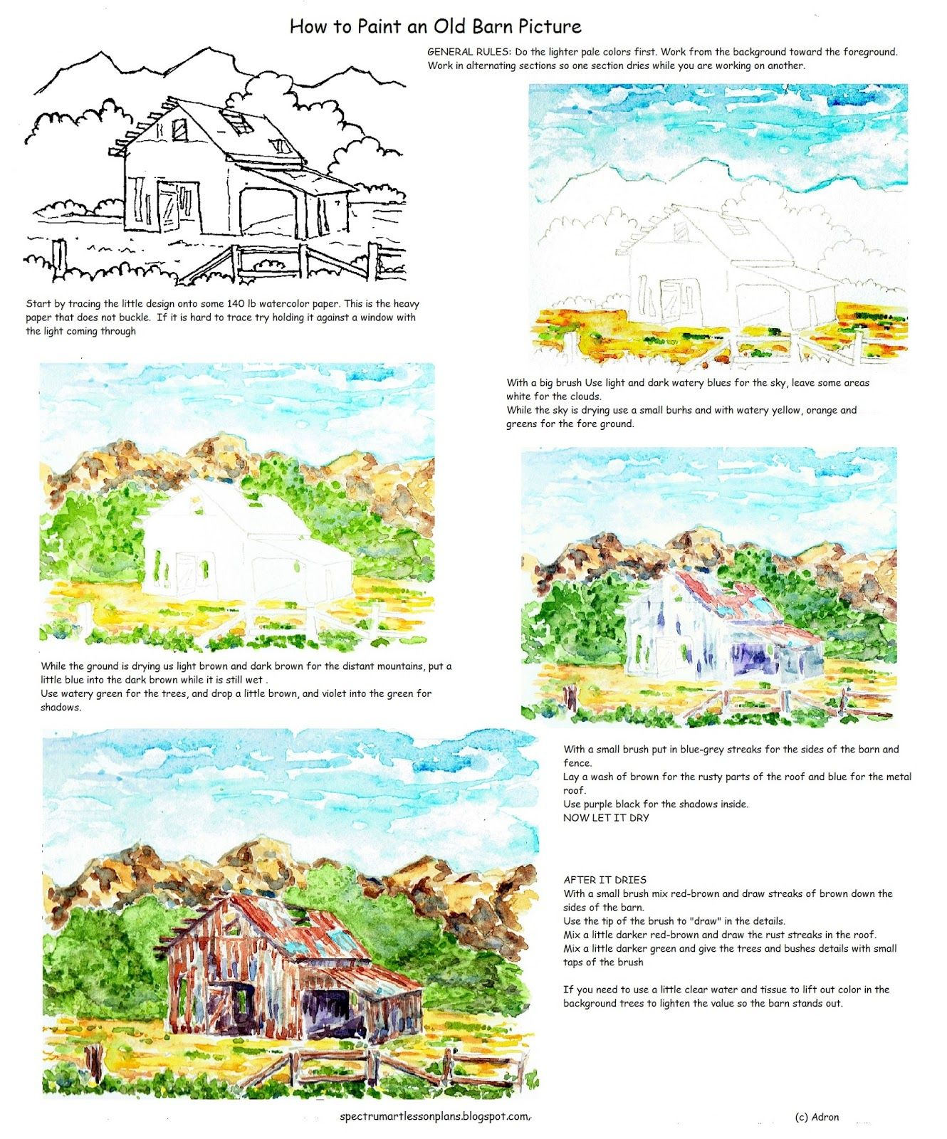 How To Paint An Old Rustic Barn In Watercolor Worksheet