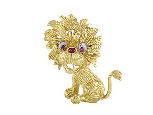 Lion Brooch in 18K
