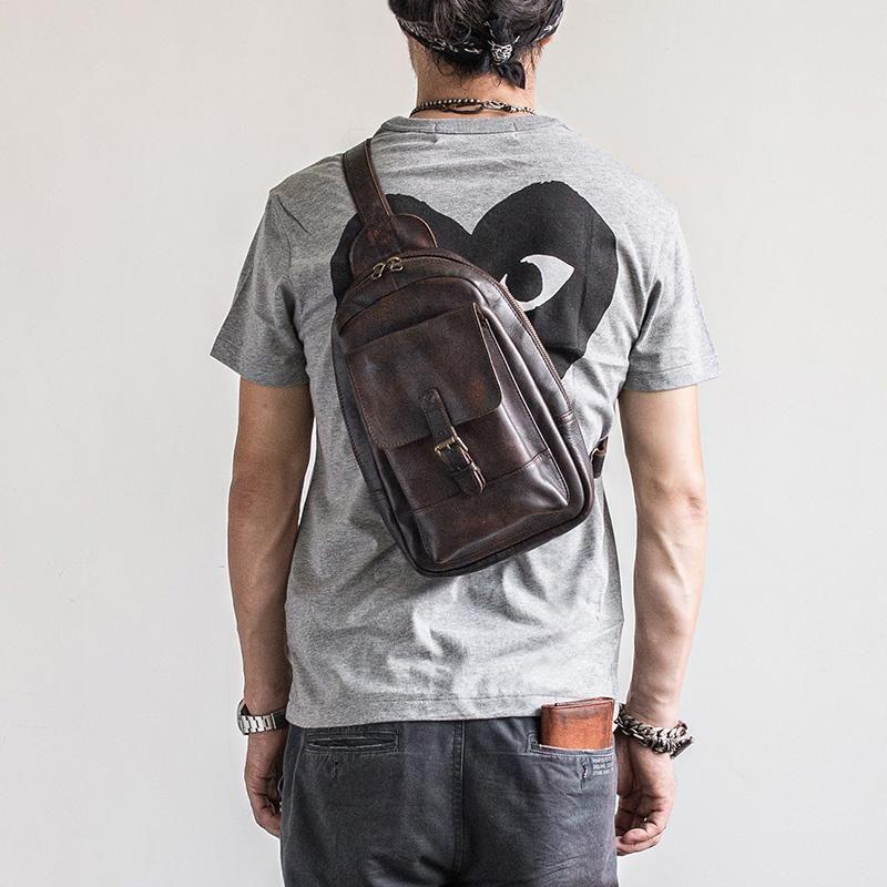 e44988560b9f Genuine Leather Mens Cool Chest Bag Sling Bag Crossbody Bag Travel Bag –  iwalletsmen
