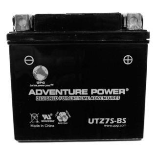UPG Dry Charge Motorcycle Battery - 12V, 6 Amps, Model# UTZ7SBS by UPG. Save 39 Off!. $33.51. UPG Adventure Power Power Sport AGM Series Dry Charge AGM Battery is designed to provide replacement to the existing vehicles battery. This battery is contained in a thick poly bag for additional protection against spillage. It is a workhorse for vehicles that operate on uneven surfaces and environments with heavy vibration. This battery is rugged, reliable and dependable. It is engineere...