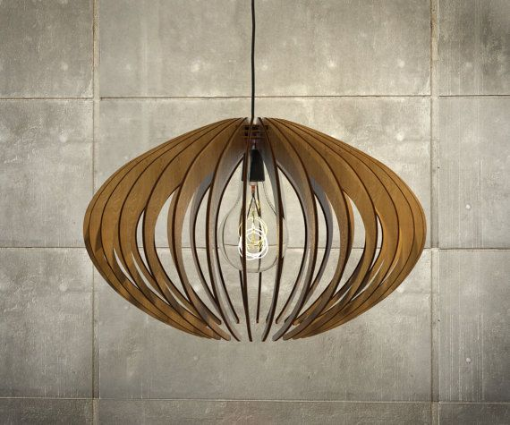 Wood pendant light lasercut chandelier lamp by aaarchitecturelab · lampe pendante en boispendentif