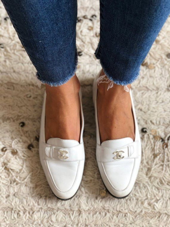 40c753b9f Vintage CHANEL CC Silver TURNLOCK Logo White Leather Loafers Flats Driving  Shoes Smoking Slippers Ba