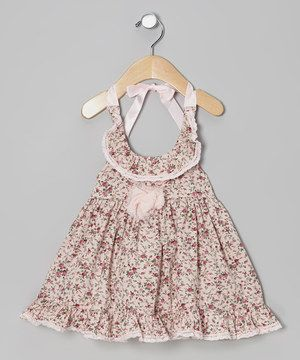 Another great find on #zulily! Élysées Bébé Pink Floral Ruffle Halter Dress - Infant by Élysées Bébé #zulilyfinds