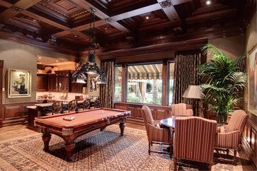 Way Too Fancy But I Like The Layout Of The Pool Table With Nearby Table And