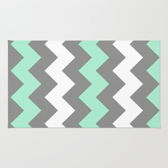 Mint White Grey Chevron Rug By CreativeAngel   $28.00
