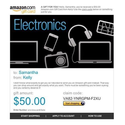 Amazon Gift Card E Mail Amazon Electronics 50 00 Amazon Electronics Gift Card Amazon Gift Cards