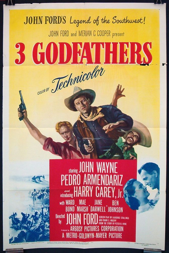 3 GODFATHERS original 1949 1-sheet JOHN WAYNE JOHN FORD western ...